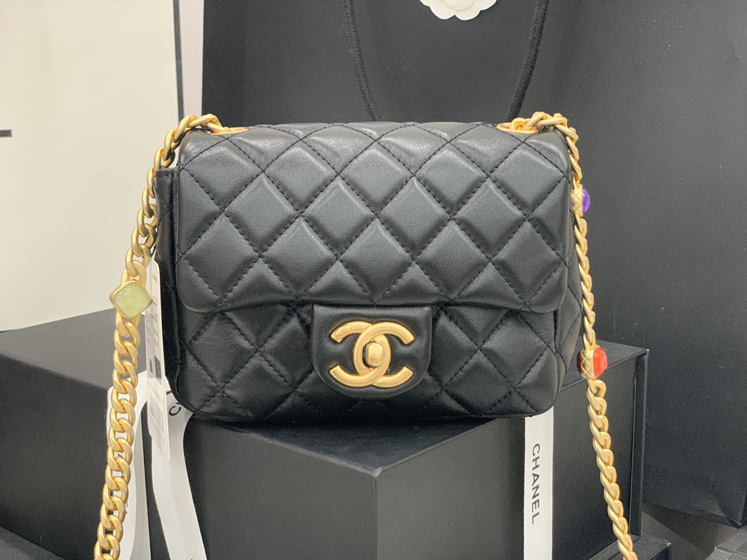 Original Copy Chanel AS2379 2021 Flap Bag Lambskin Resin Gold-Tone Metal Black