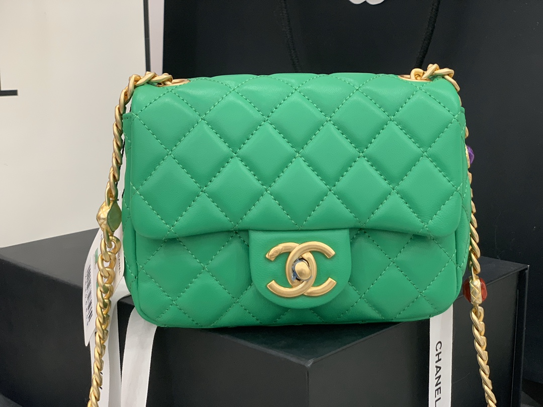 Original Copy Chanel AS2379 2021 Flap Bag Lambskin Resin Gold-Tone Metal Green