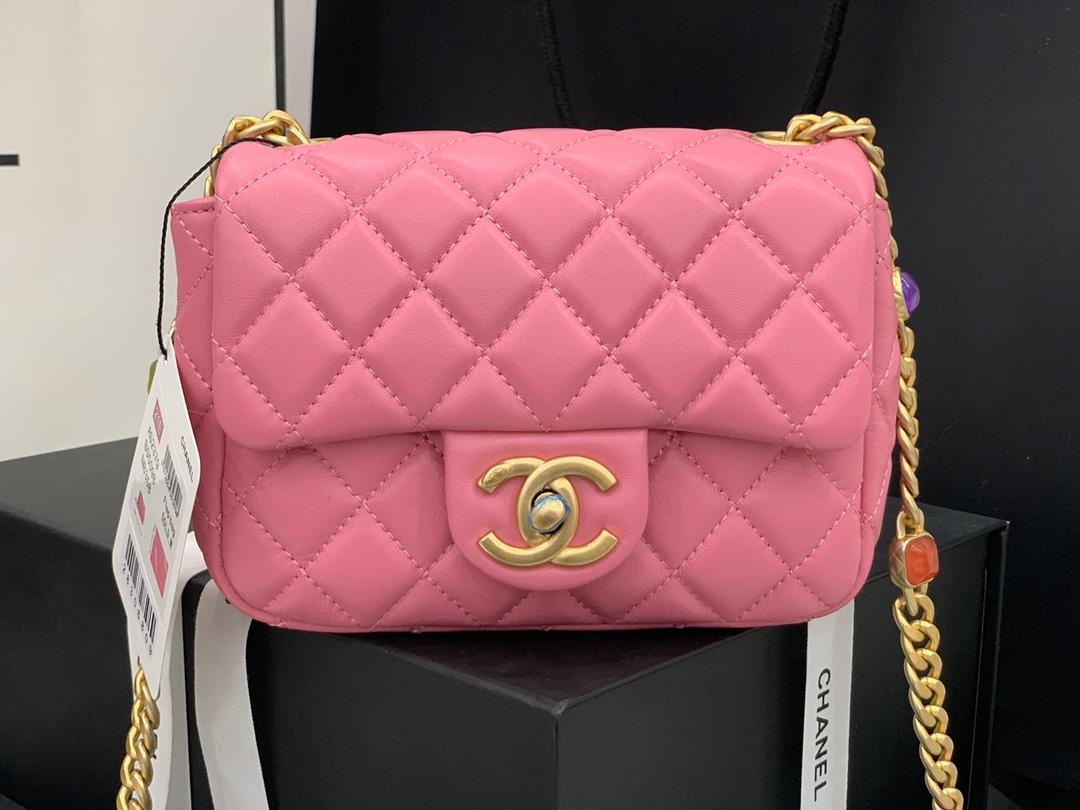Original Copy Chanel AS2379 2021 Flap Bag Lambskin Resin Gold-Tone Metal Rose