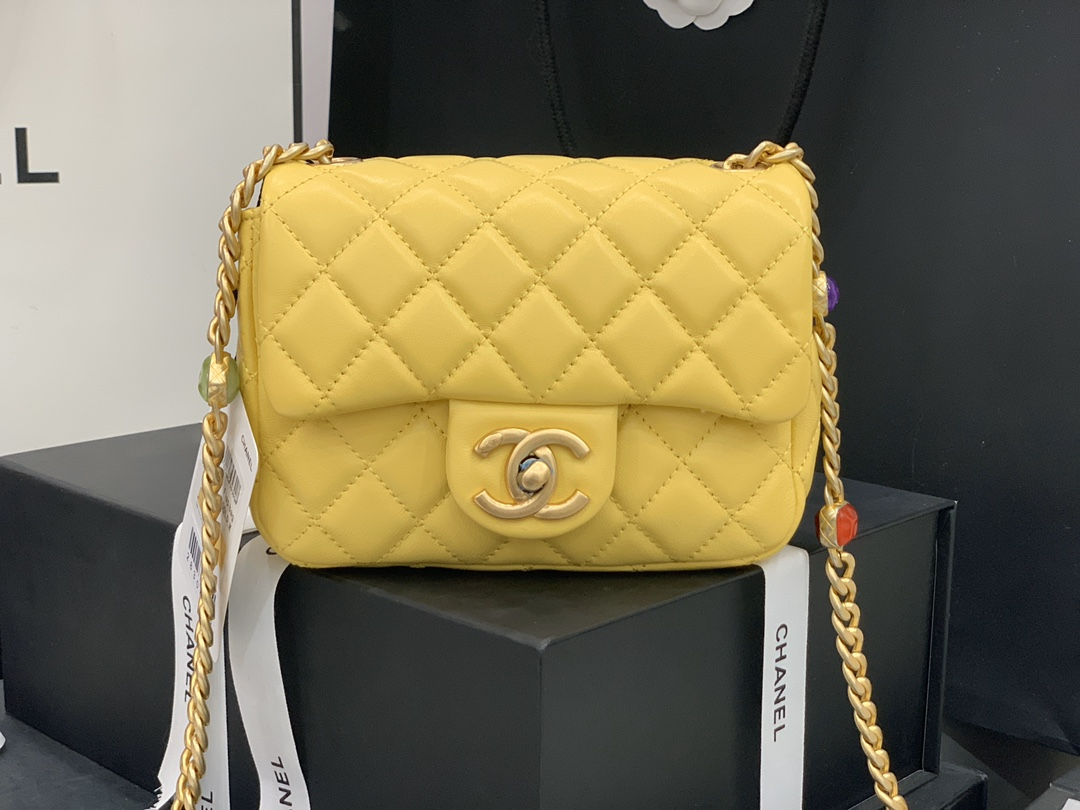 Original Copy Chanel AS2379 2021 Flap Bag Lambskin Resin Gold-Tone Metal