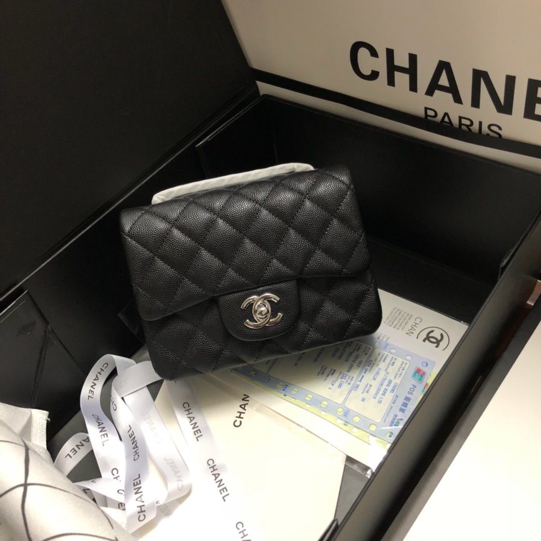 Original Copy Chanel Classic Flap Bag 17cm Grained Calfskin Sliver-Tone Metal Black