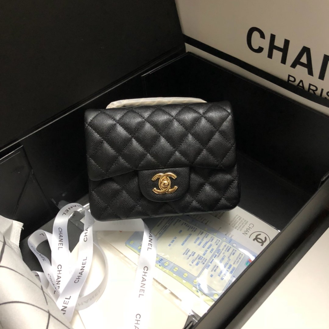 Original Copy Chanel Classic Flap Bag 17cm Grained Calfskin Yellow Gold-Tone Metal Black