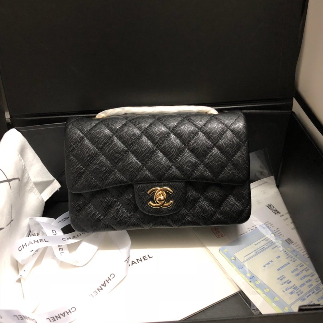 Original Copy Chanel Classic Flap Bag 20cm Grained Calfskin Gold-Tone Metal Black