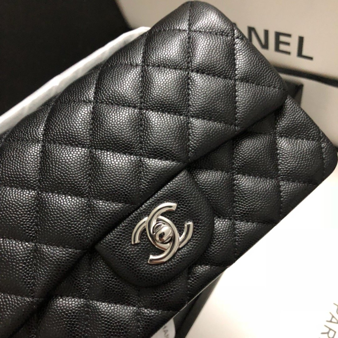 Original Copy Chanel Classic Flap Bag 20cm Grained Calfskin Sliver-Tone Metal Black