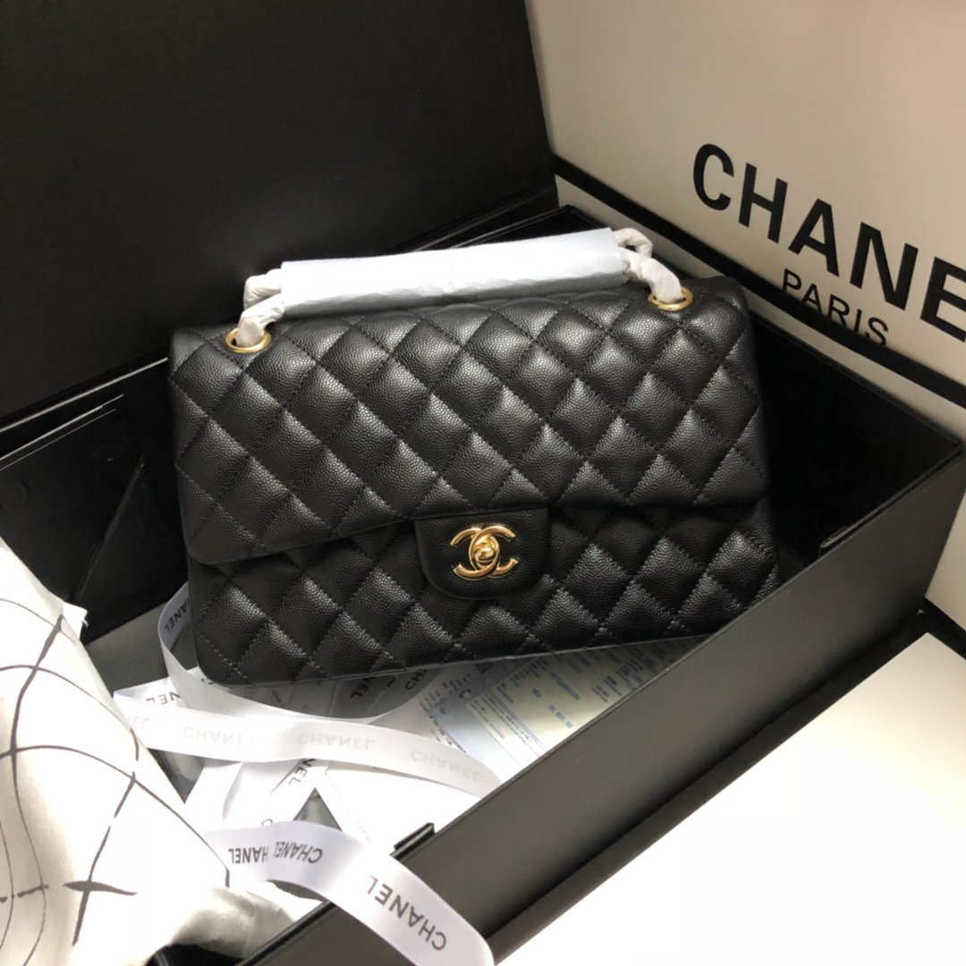 Original Copy Chanel Classic Flap Bag 25cm Grained Calfskin Gold-Tone Metal Black