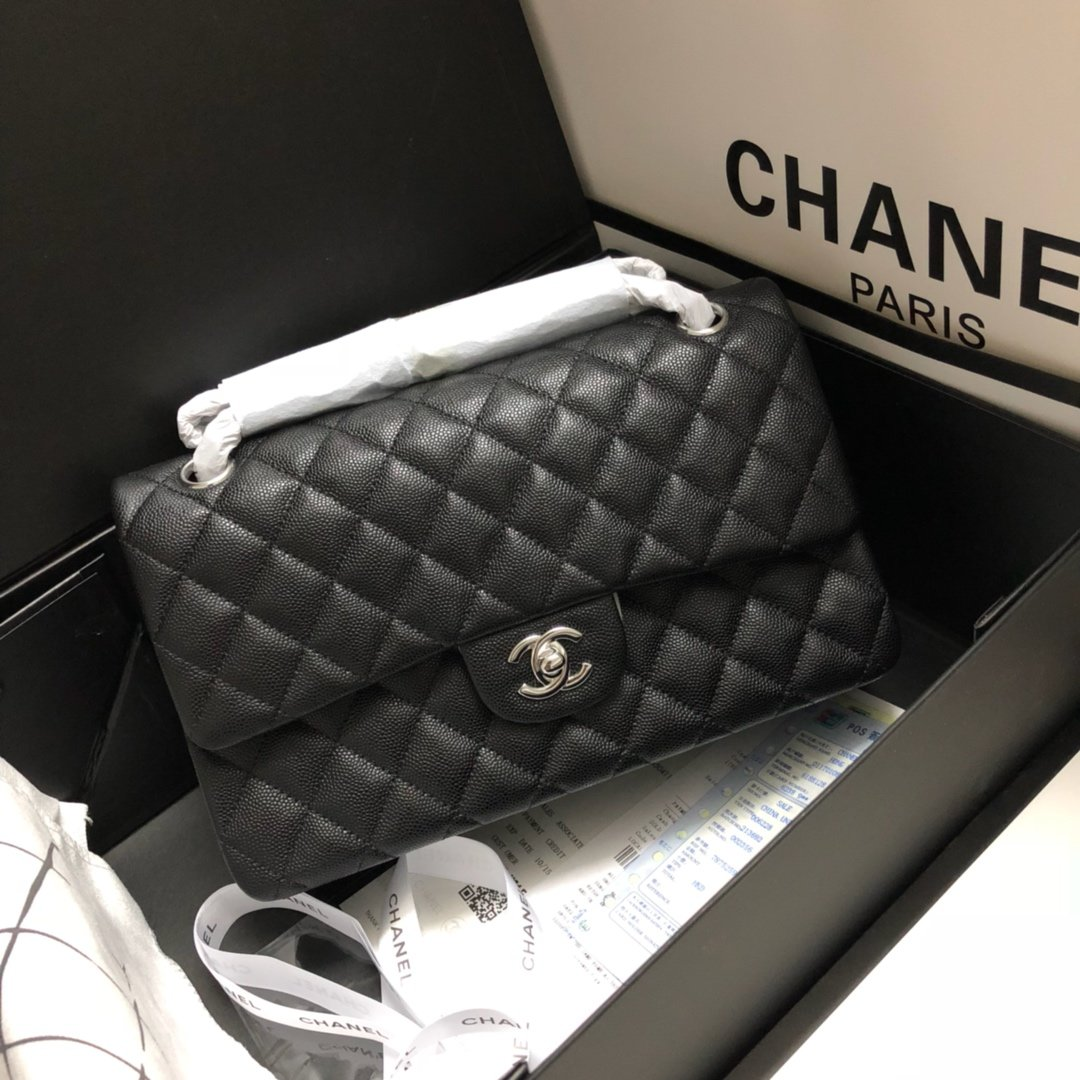 Original Copy Chanel Classic Flap Bag 25cm Grained Calfskin Sliver-Tone Metal Black
