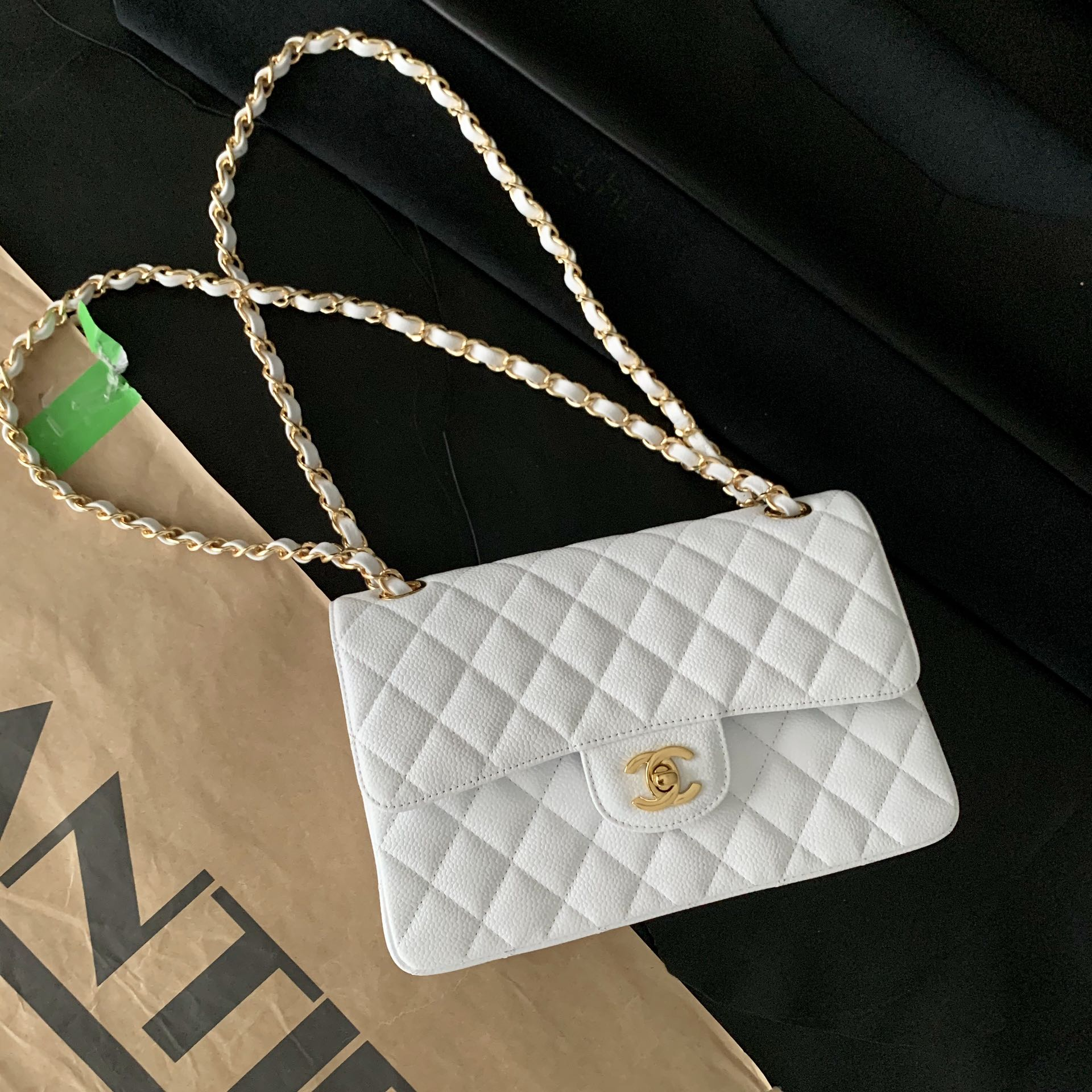 Original Copy Chanel Classic Flap Bag Grained Calfskin Gold-Tone Metal White