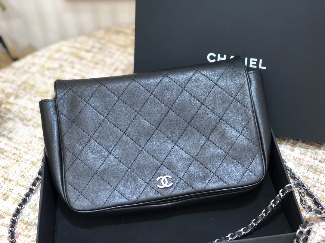 Original Copy Chanel Flap Bag Calfskin Sliver-Tone Metal Black