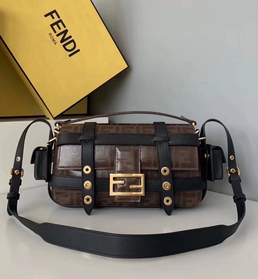Original Copy Fendi Iconic Baguette Bag with Flap and FF Fastening with Magnetic Clasp Coffee