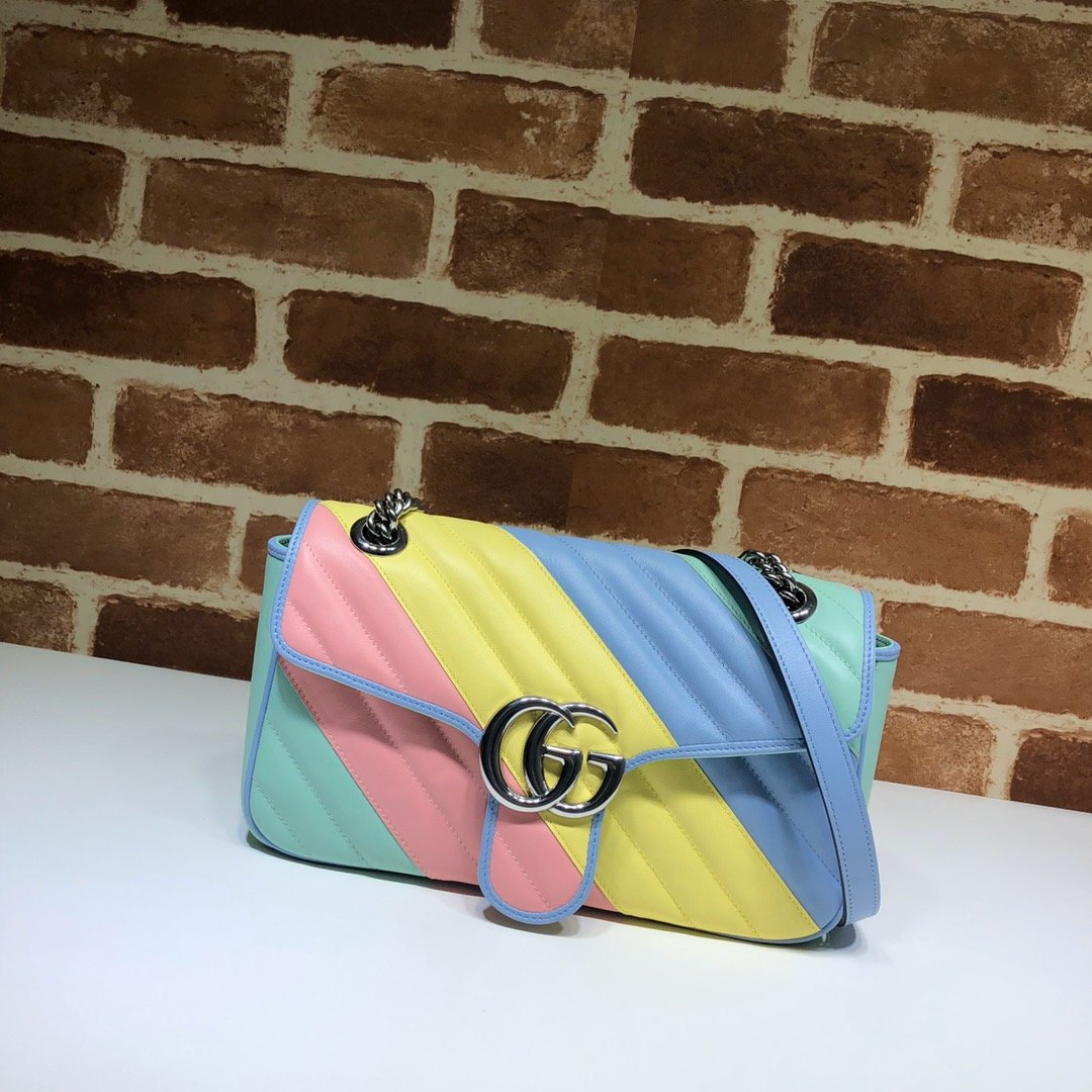 Original Copy Gucci 443497 GG Marmont Small Shoulder Bag Multicolored Pastel Diagonal Matelasse Leather