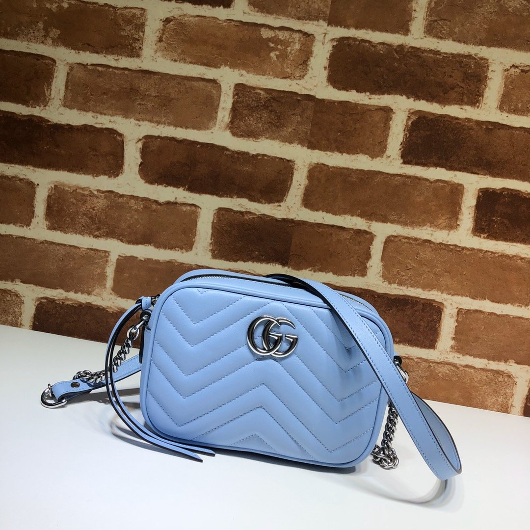 Original Copy Gucci 448065 GG Marmont Matelasse Mini Bag Blue Leather
