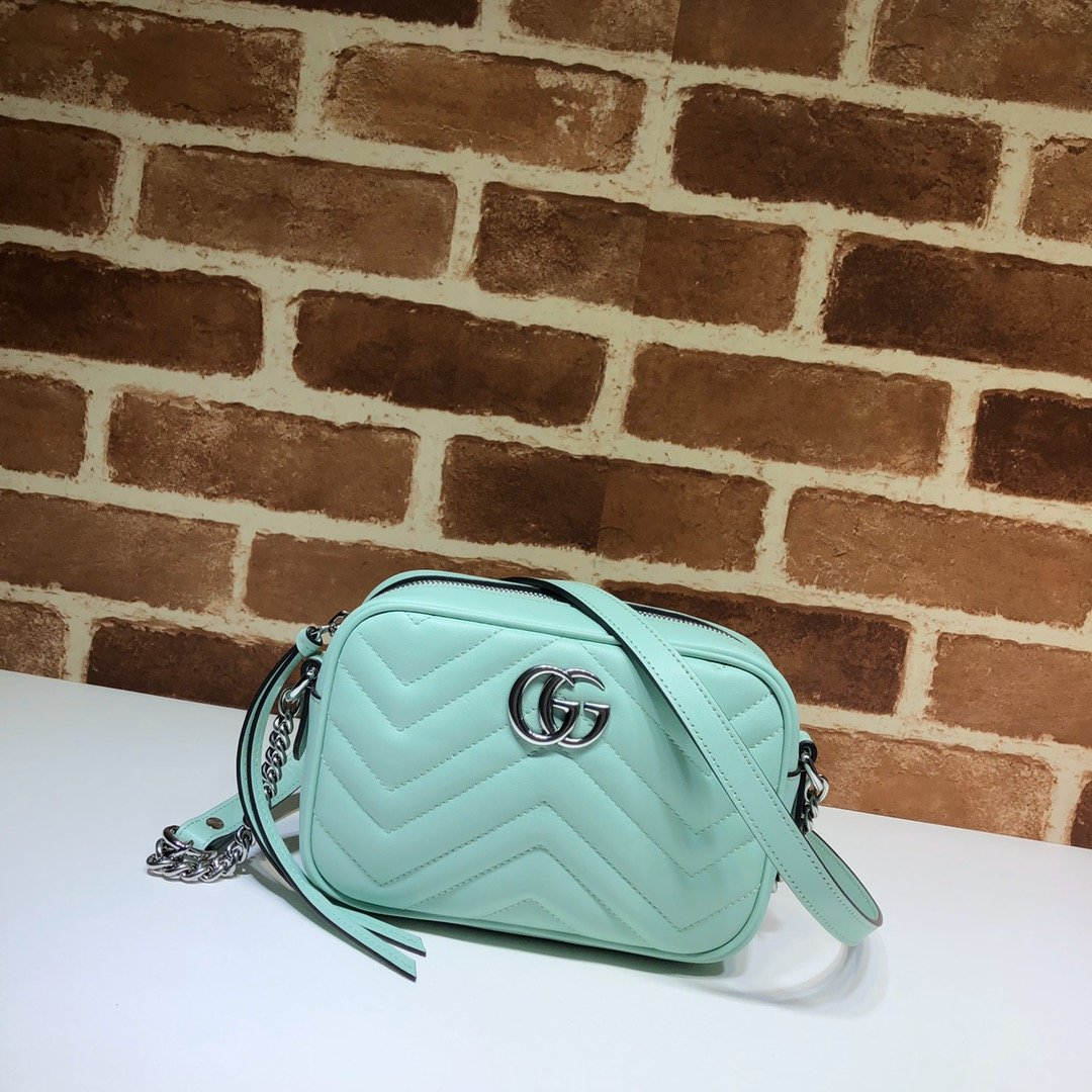 Original Copy Gucci 448065 GG Marmont Matelasse Mini Bag Green Leather