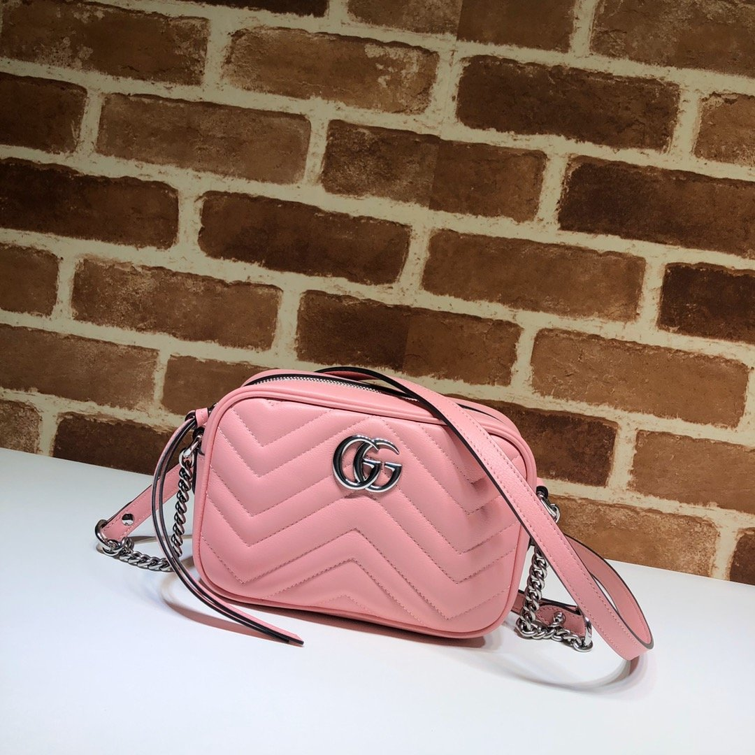 Original Copy Gucci 448065 GG Marmont Matelasse Mini Bag Pink Leather