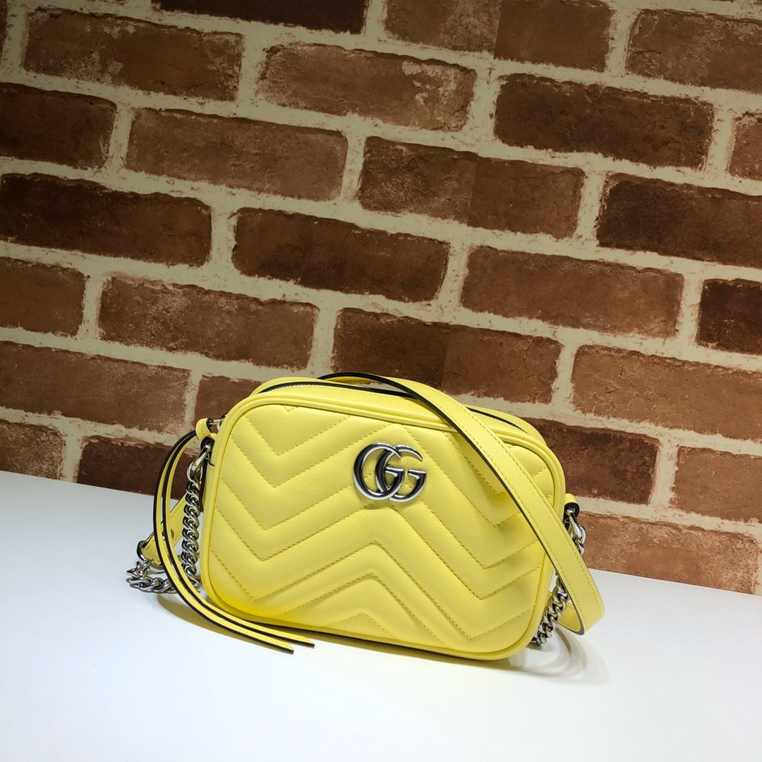 Original Copy Gucci 448065 GG Marmont Matelasse Mini Bag Yellow Leather
