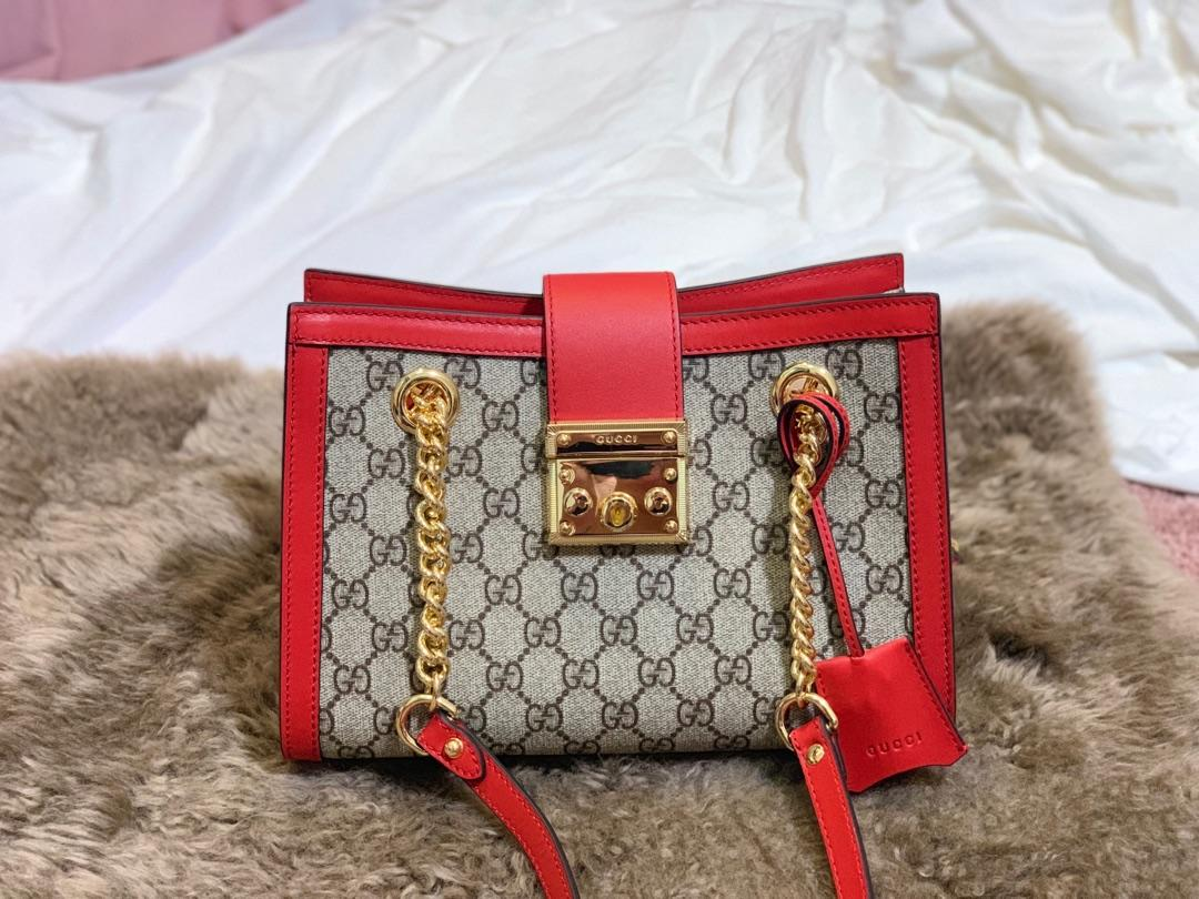 Original Copy Gucci Padlock Medium GG Shoulder Bag Red 479197