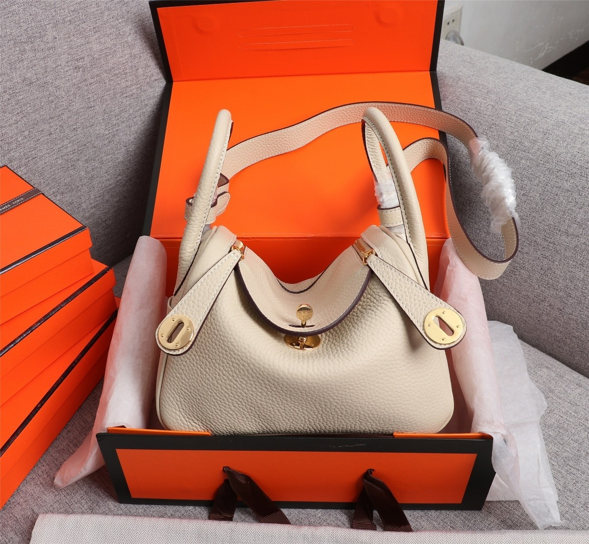 Original Copy Hermes Mini Linday Beige Clemence Leather With Gold Hardware