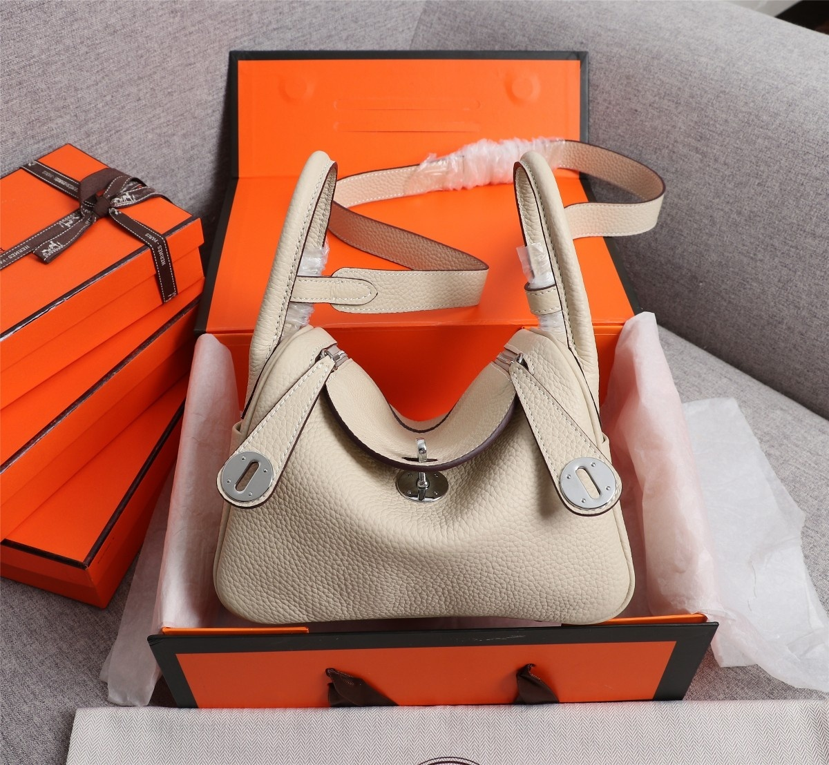 Original Copy Hermes Mini Linday Beige Clemence Leather With Sliver Hardware