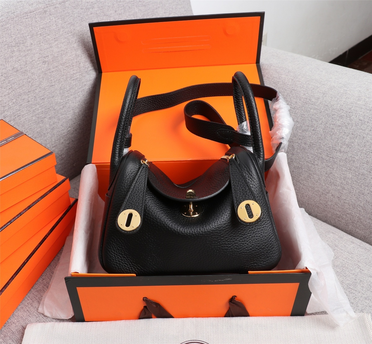 Original Copy Hermes Mini Linday Black Clemence Leather With Gold Hardware