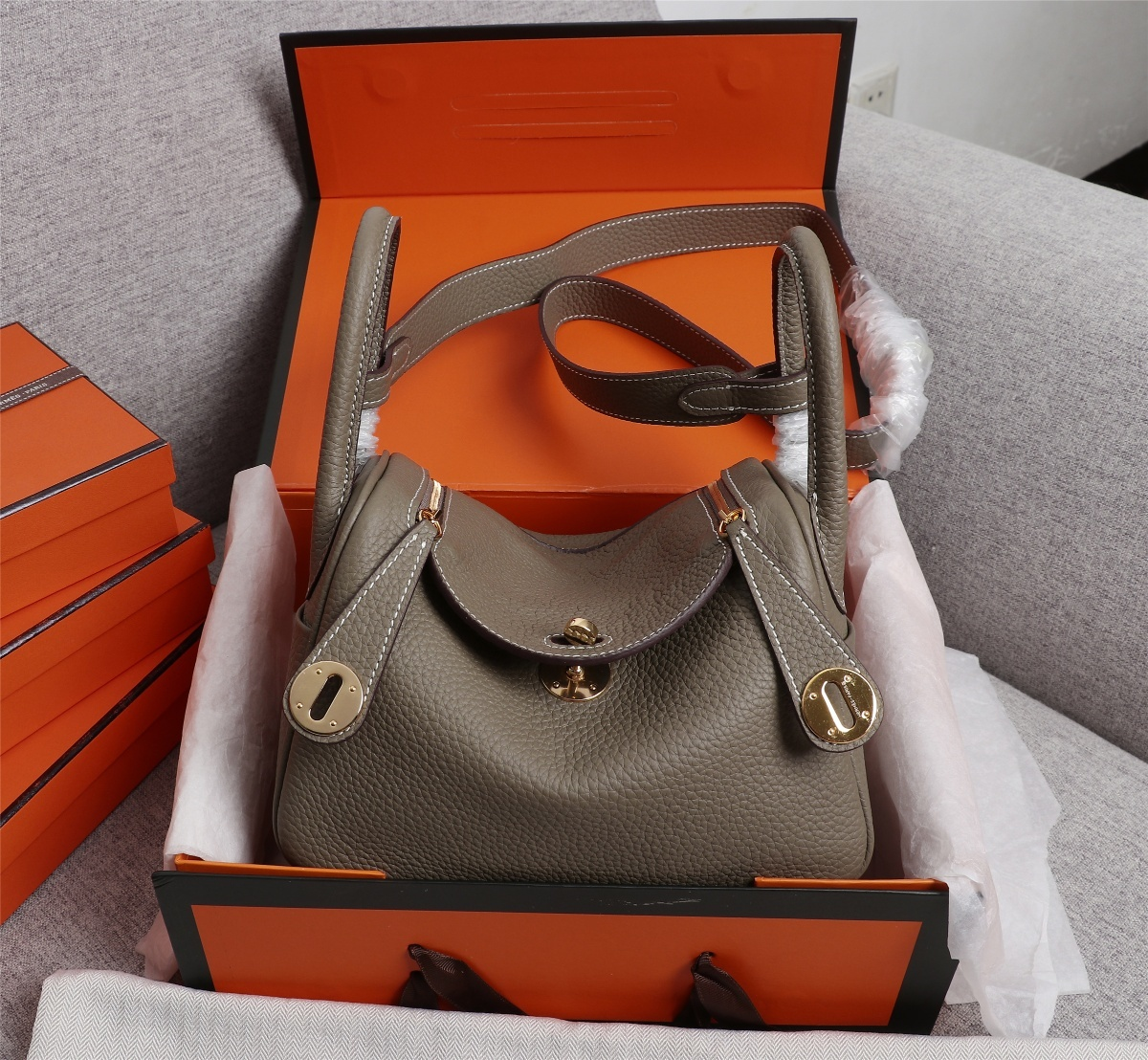 Original Copy Hermes Mini Linday Clemence Leather With Gold Hardware