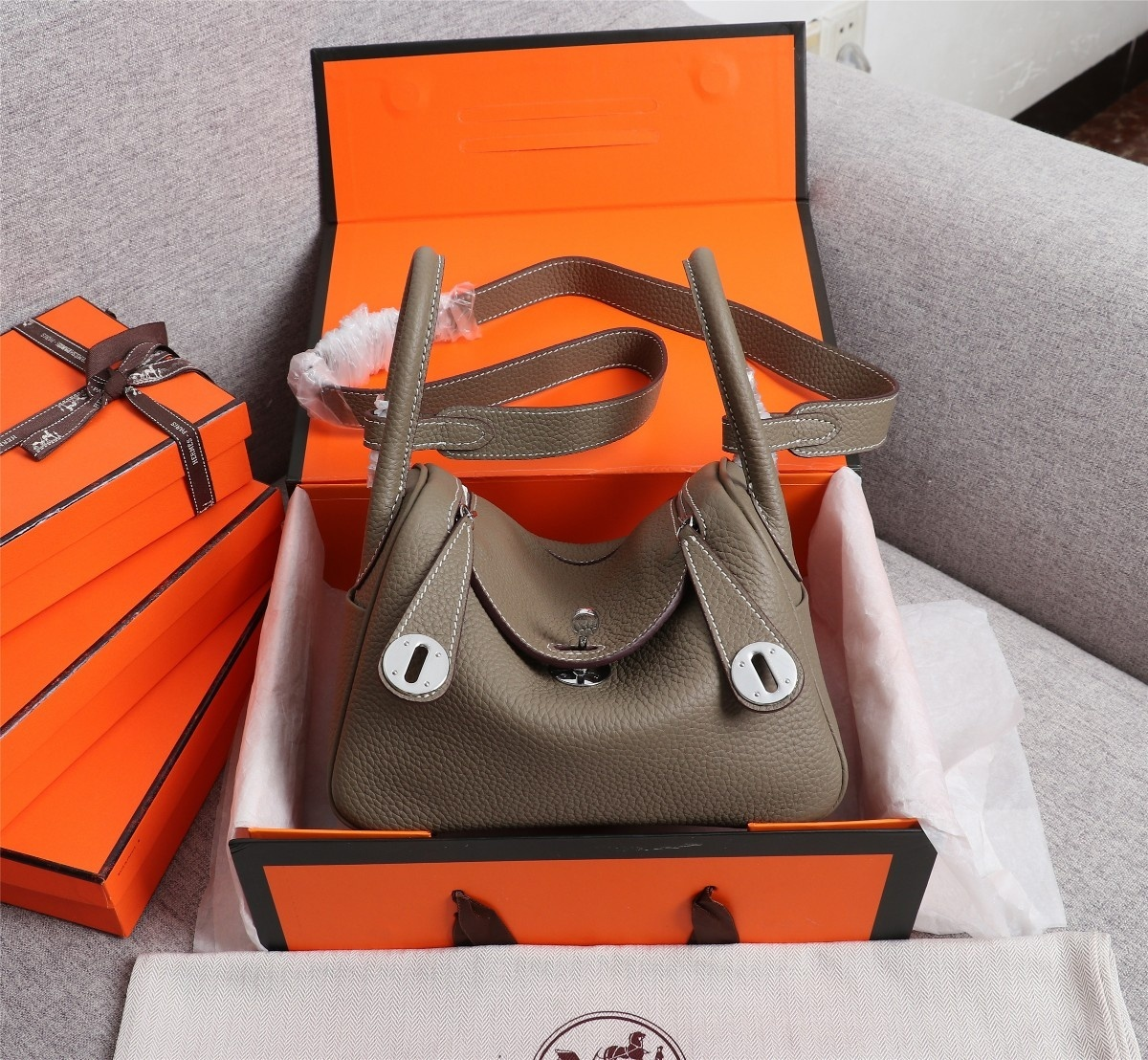 Original Copy Hermes Mini Linday Clemence Leather With Sliver Hardware