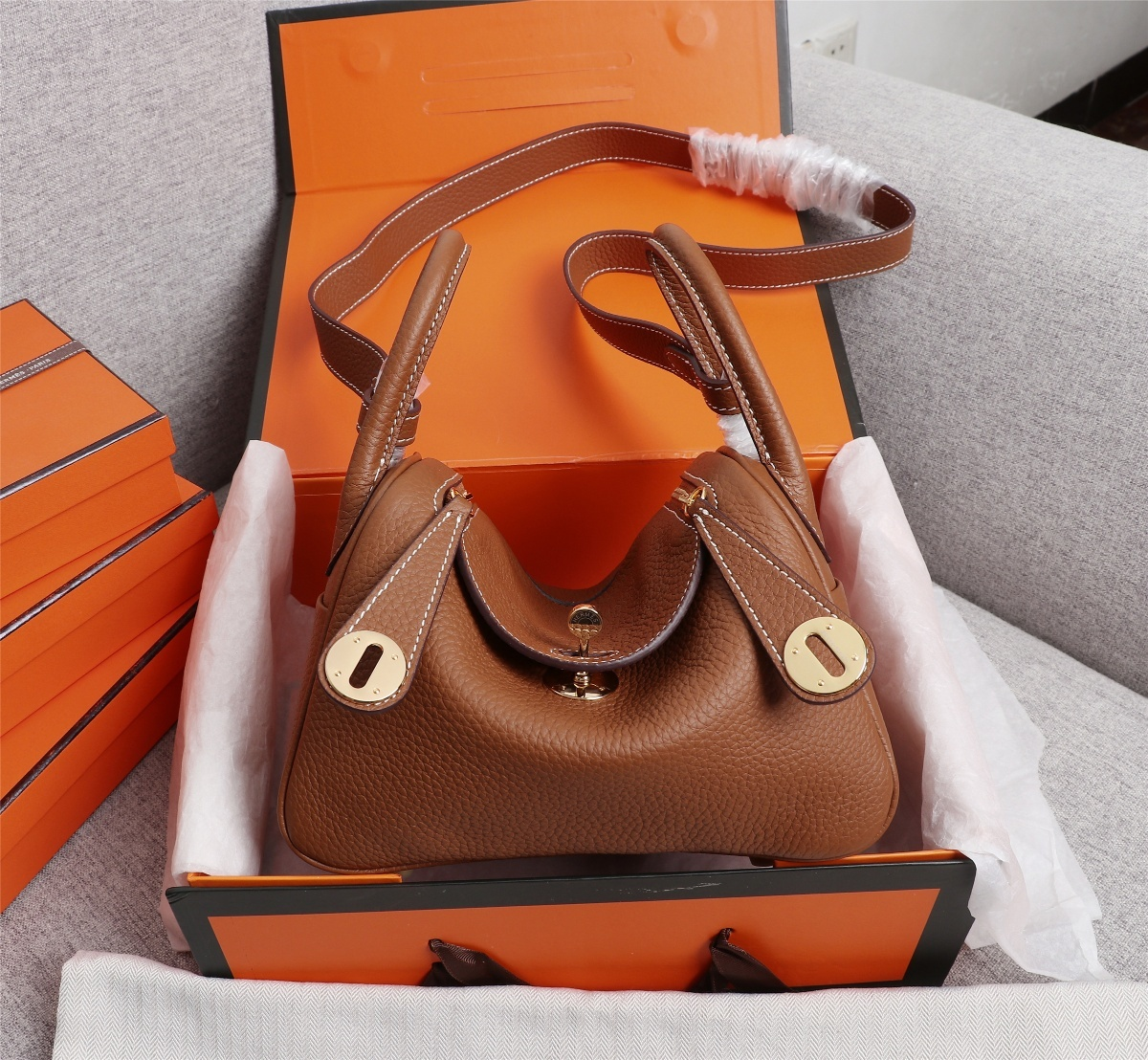 Original Copy Hermes Mini Linday Coffee Clemence Leather With Gold Hardware