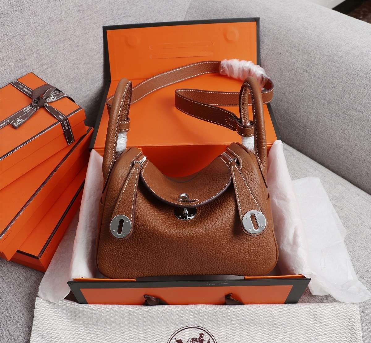Original Copy Hermes Mini Linday Coffee Clemence Leather With Sliver Hardware