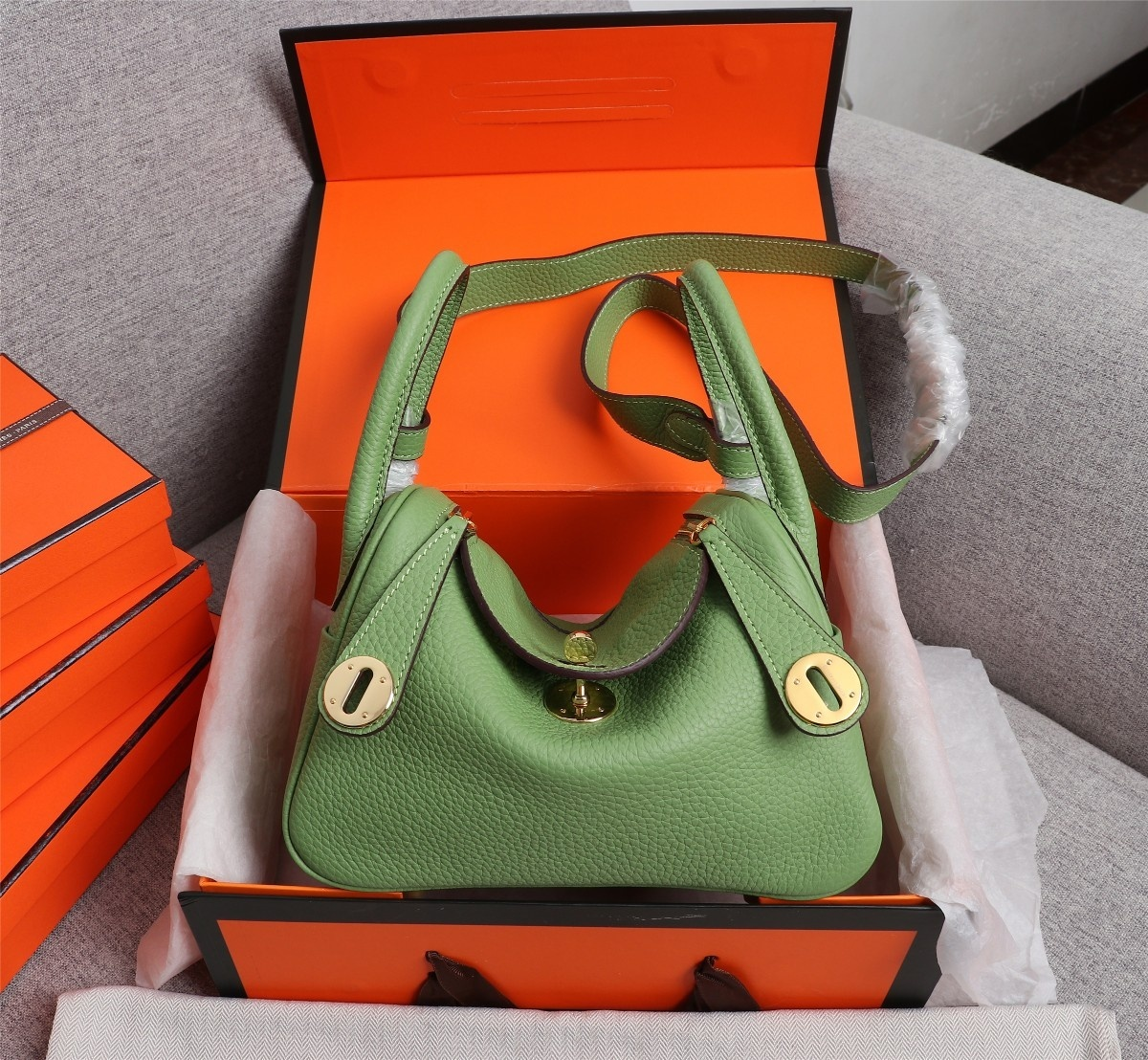 Original Copy Hermes Mini Linday Green Clemence Leather With Gold Hardware