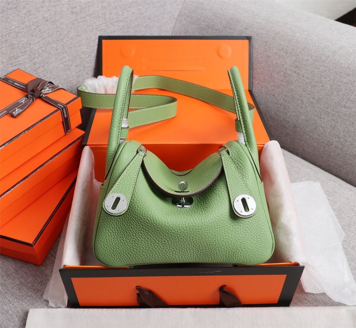 Original Copy Hermes Mini Linday Green Clemence Leather With Sliver Hardware