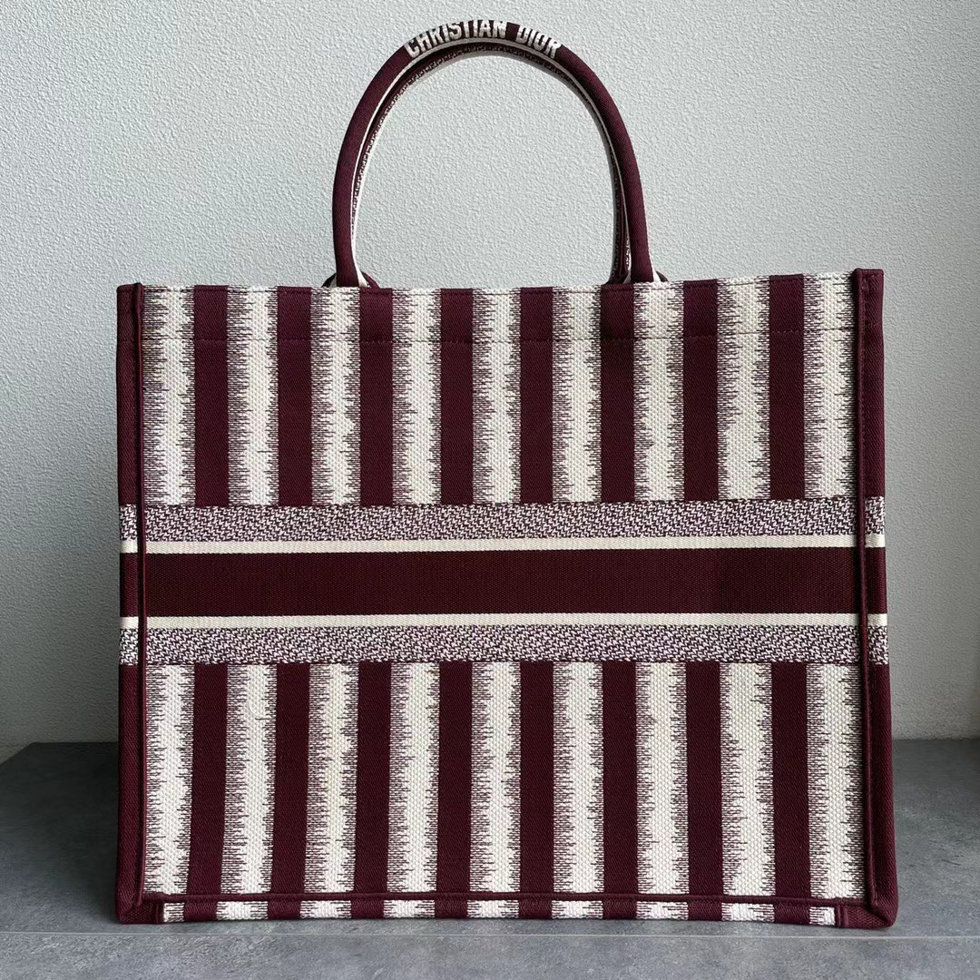 Original Copy Large Dior Book Tote Brown D-Stripes Embroidery