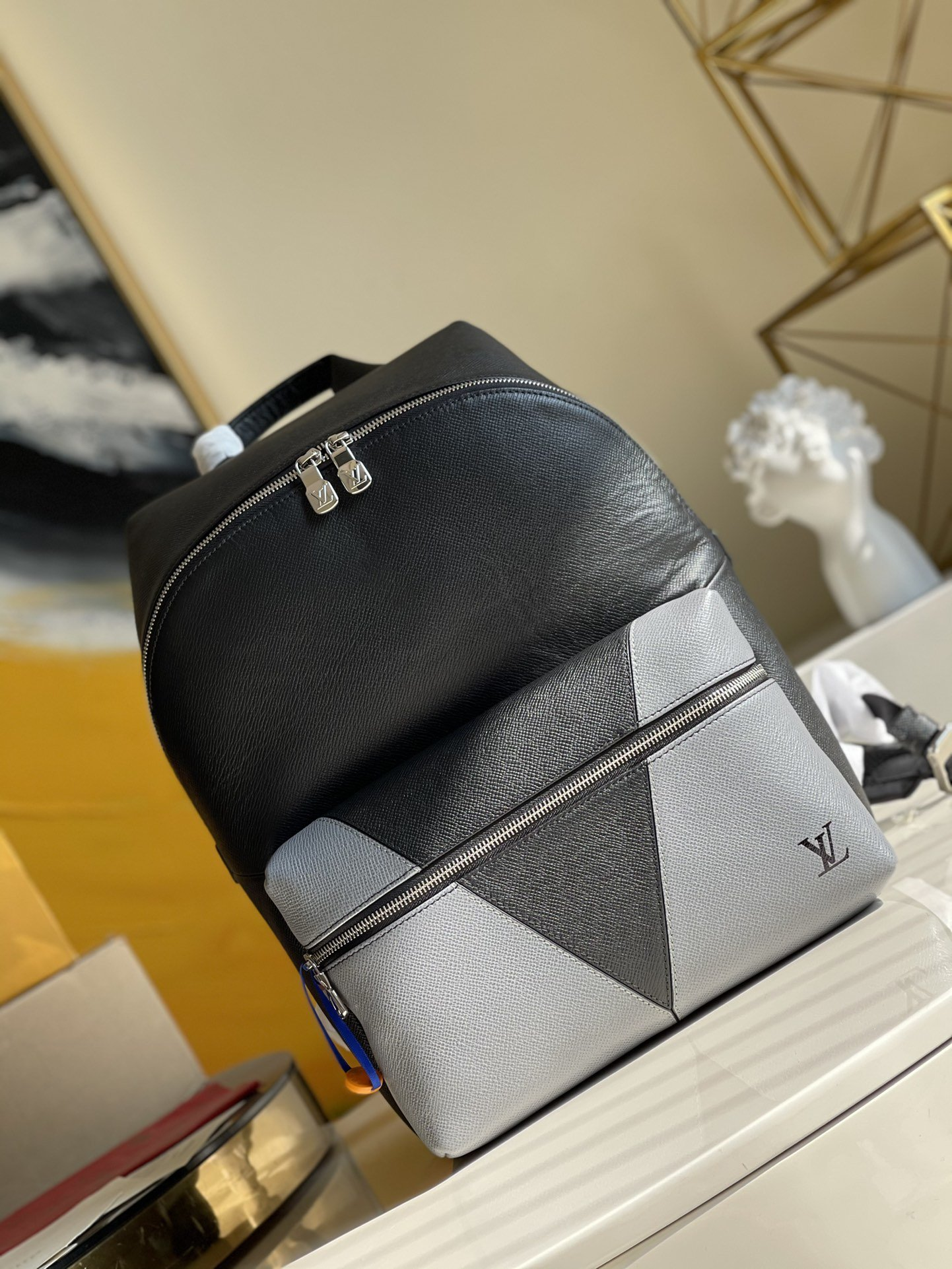Original Copy Louis Vuitton M30728 Discovery Backpack Gray Monochrome Taiga Leather