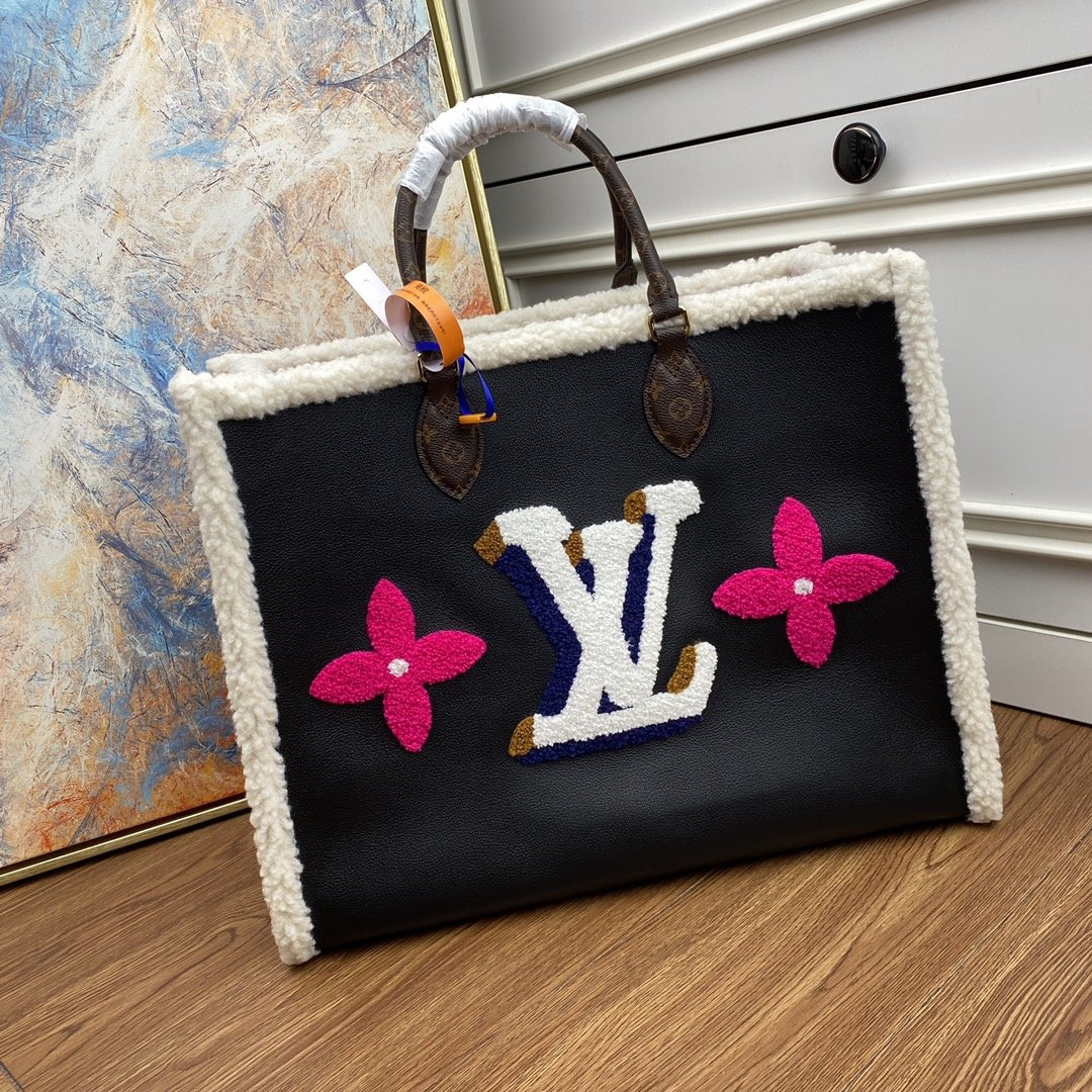 Original Copy Louis Vuitton M56958 Onthego GM Black Cowhide Leather