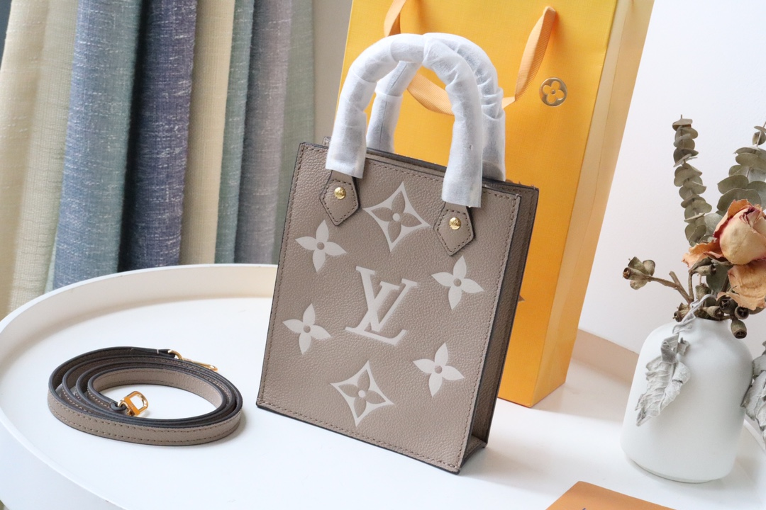 Original Copy Louis Vuitton M57937 Petit Sac Plat Monogram Empreinte Embossed Supple Grained Cowhide Leather Gray