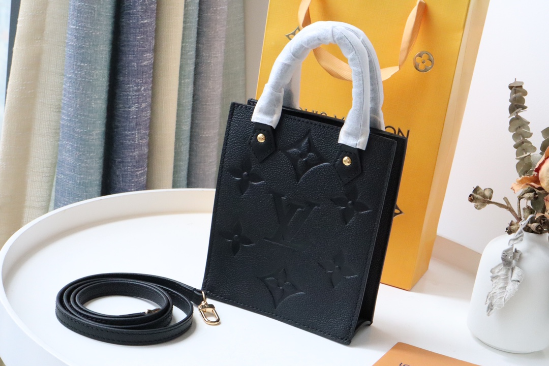 Original Copy Louis Vuitton M80478 Petit Sac Plat Empreinte Embossed Supple Grained Cowhide Leather Black