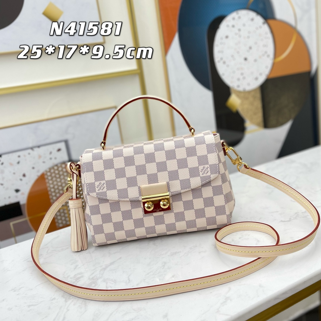 Original Copy Louis Vuitton N41581 Women Croisette Bag Damier Azur Coated Canvas
