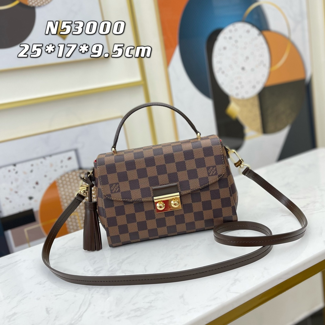 Original Copy Louis Vuitton N53000 Women Croisette Bag Damier Ebene Coated Canvas