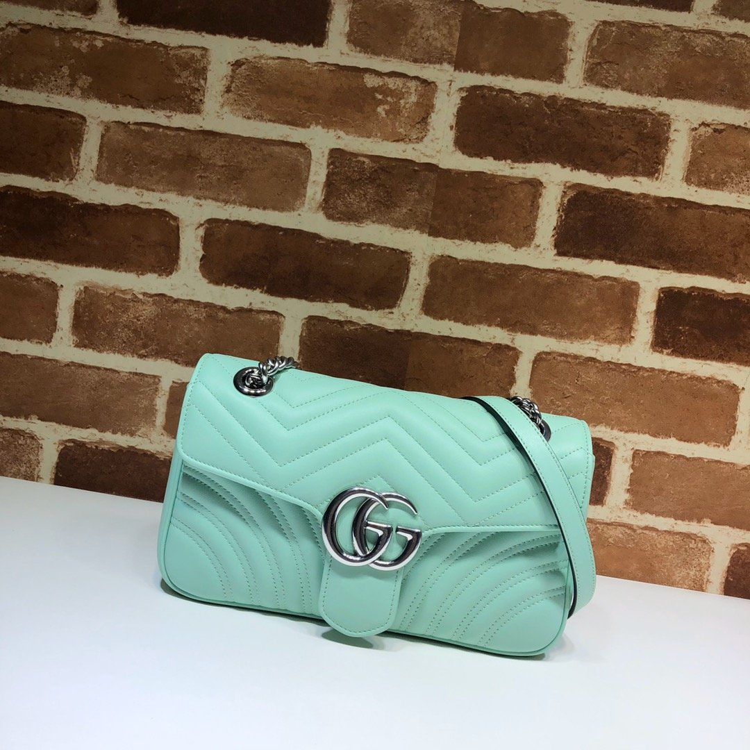 Original Copy Replica Gucci 443497 GG Marmont Small Shoulder Bag Pastel Green Diagonal Matelasse Leather