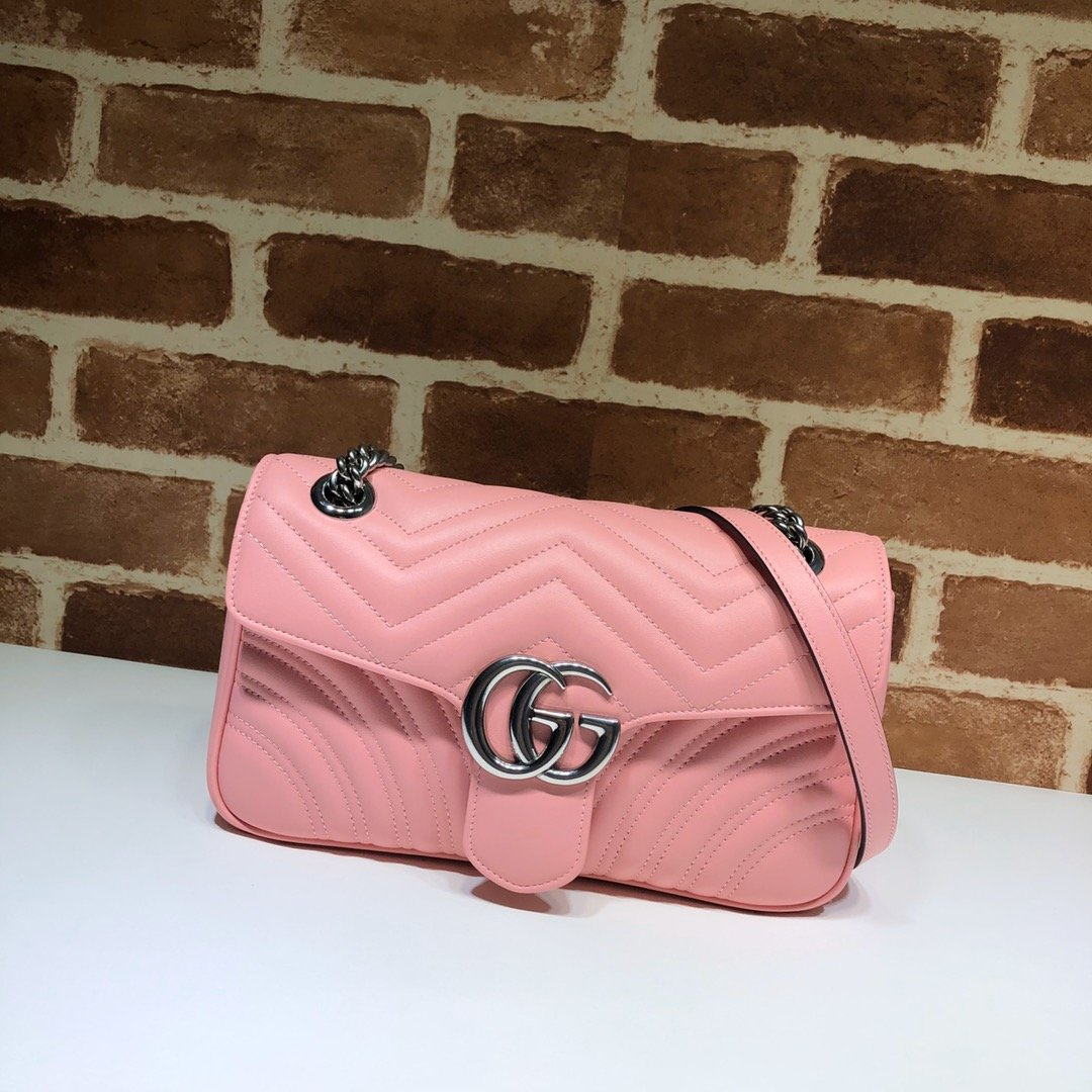 Original Copy Replica Gucci 443497 GG Marmont Small Shoulder Bag Pastel Pink Diagonal Matelasse Leather