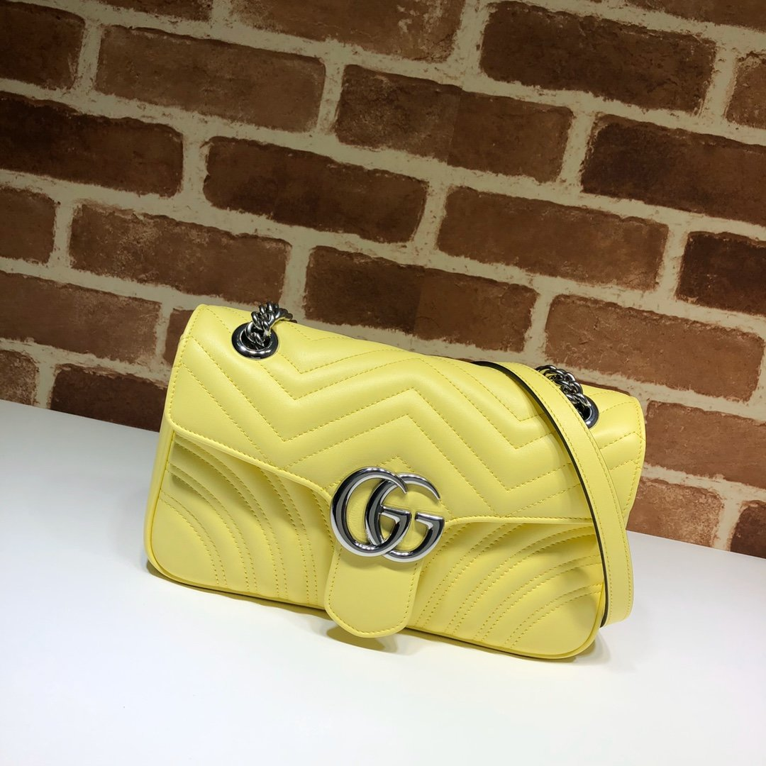 Original Copy Replica Gucci 443497 GG Marmont Small Shoulder Bag Pastel Yellow Diagonal Matelasse Leather