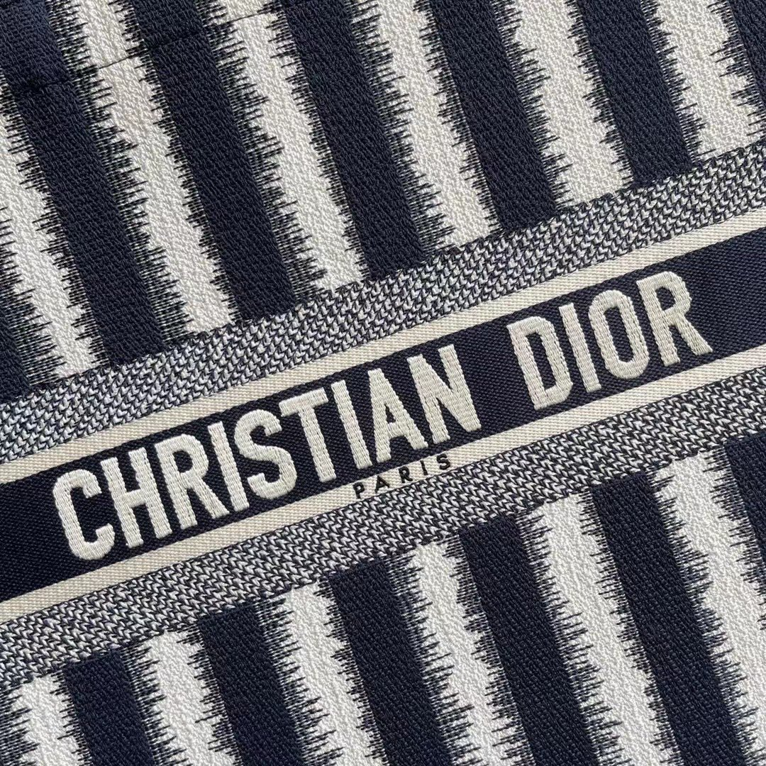 Original Copy S Dior Book Tote Black D-Stripes Embroidery
