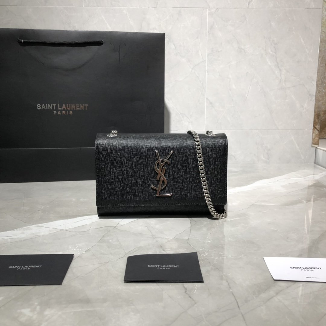Original Copy Saint Laurent Classic Small Kate Chain Bag in Black Grain De Poudre Textured Leather Sliver Hardware
