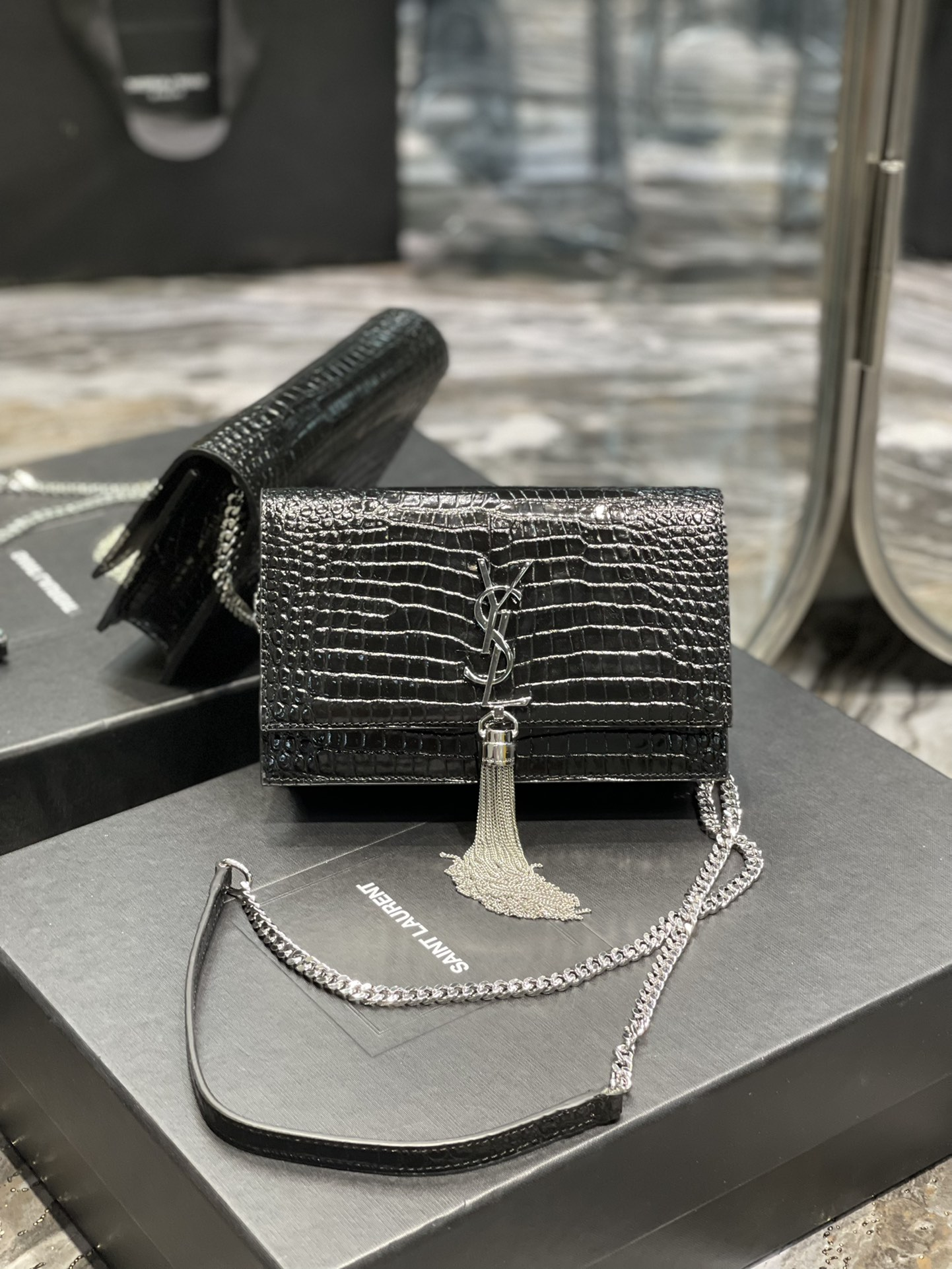 Original Copy Saint Laurent Kate Chain Wallet with Tassel in Crocodile-Embossed Shiny Leather Gold Hardware Black With Sliver