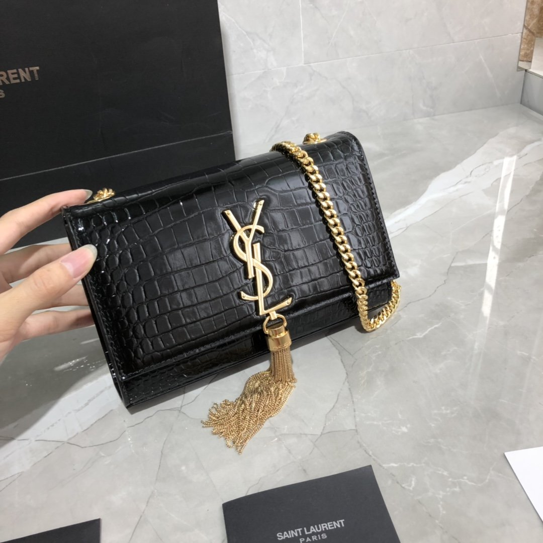 Original Copy Saint Laurent Kate Chain Wallet with Tassel in Crocodile-Embossed Shiny Leather Gold Hardware