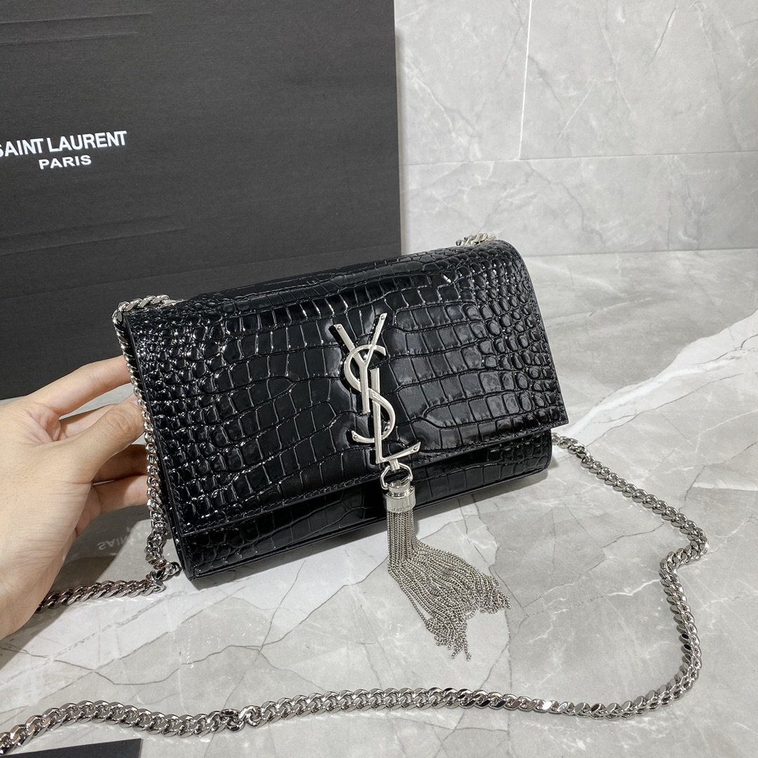Original Copy Saint Laurent Kate Chain Wallet with Tassel in Crocodile-Embossed Shiny Leather Sliver Hardware