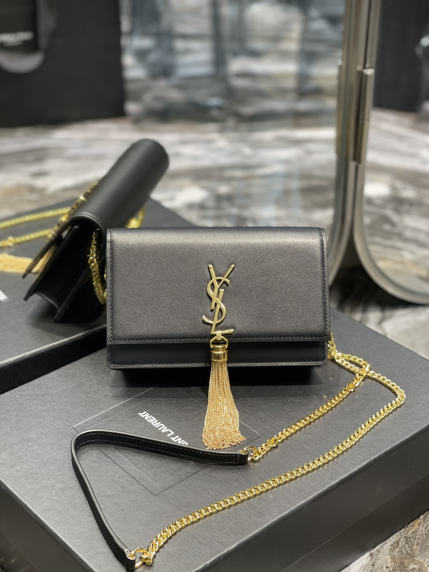 Original Copy Saint Laurent Kate Chain Wallet with Tassel in Smooth Leather with Gold