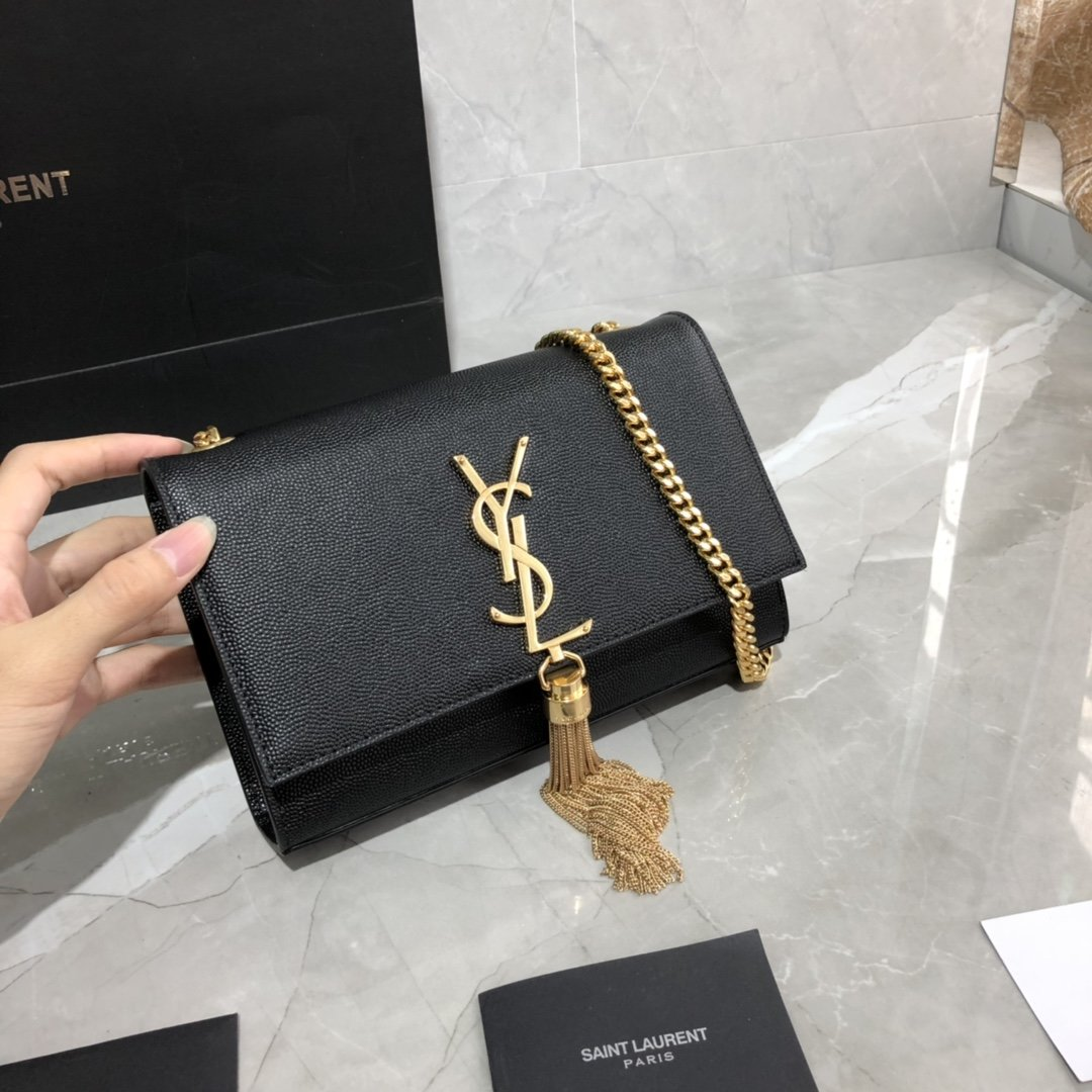 Original Copy Saint Laurent Small Kate Chain Bag in Black with Tassel in Grain de Poudre Embossed Leather Gold Hardware