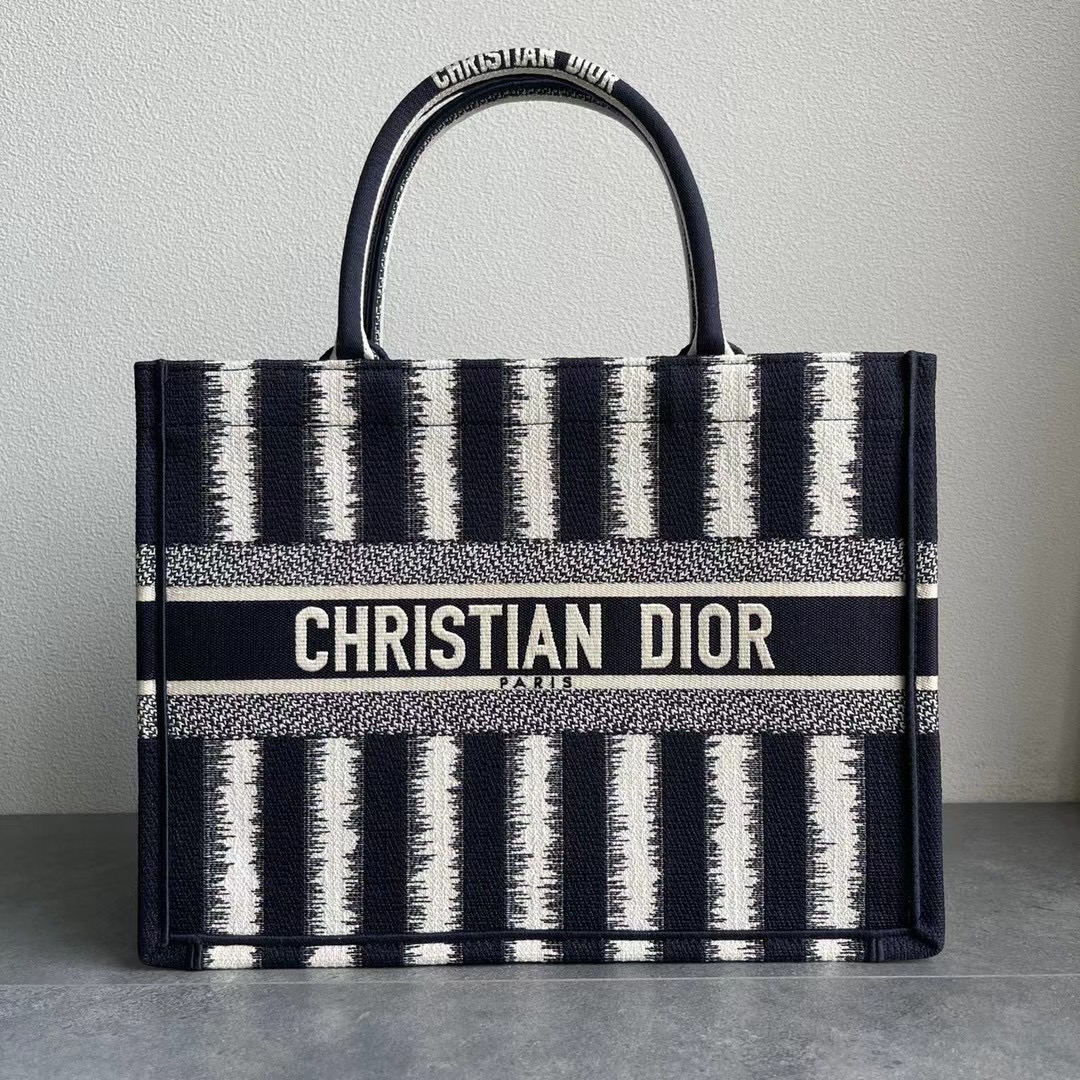 Original Copy Smal Dior Book Tote Black D-Stripes Embroidery