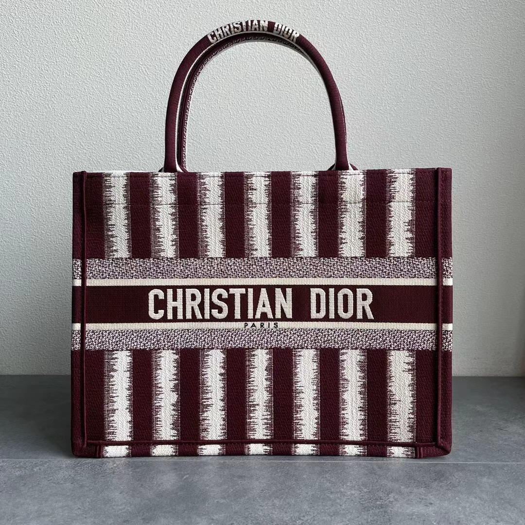 Original Copy Small Dior Book Tote Brown D-Stripes Embroidery