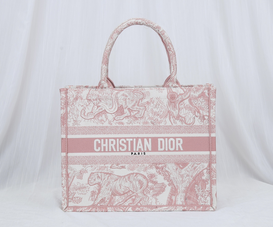 Original Copy Small Dior Book Tote Pink Toile de Jouy Embroidery