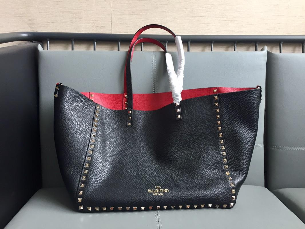 Original Copy Valentino Women Large Rochstud Tote Bag Print Black and Red