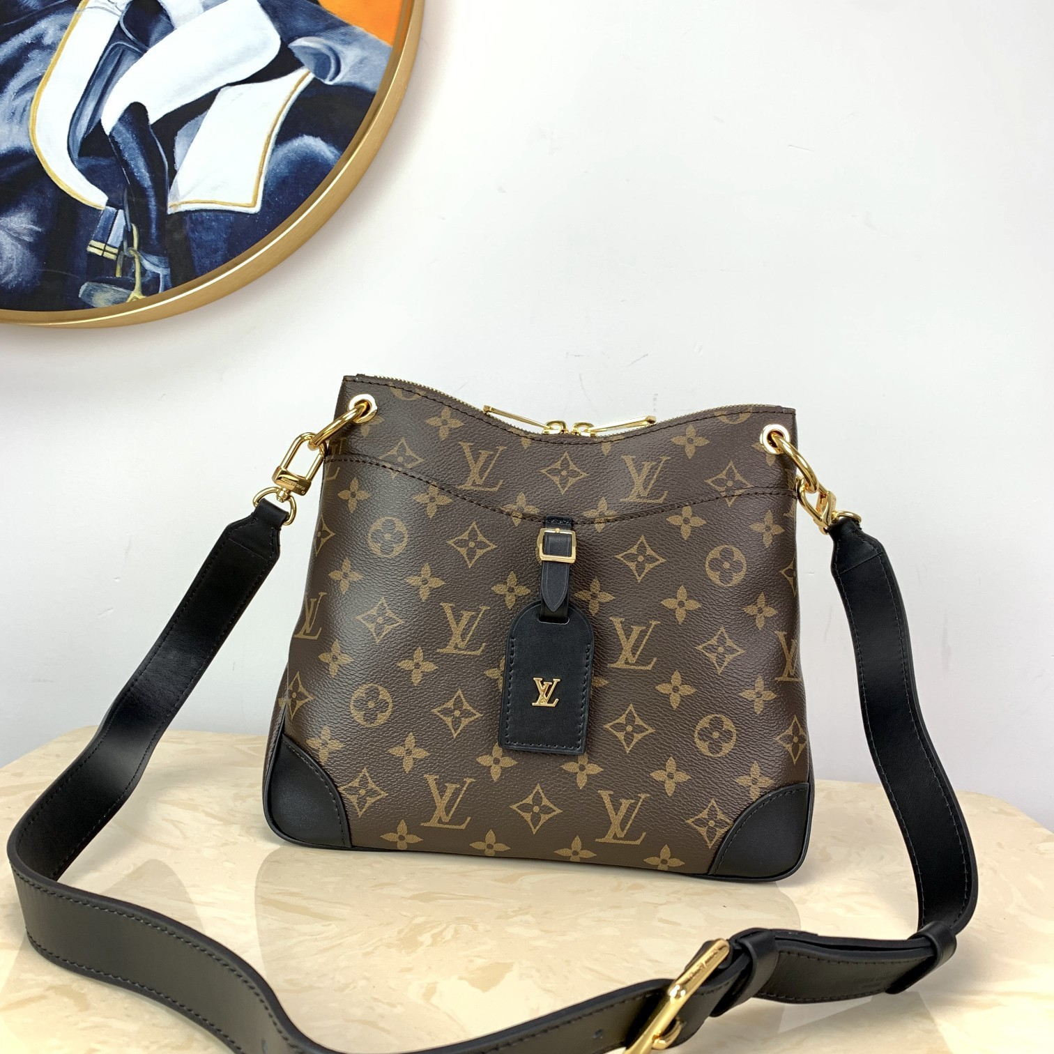 Perfect Replica Louis Vuitton M45355 Odeon MM Stylish and Functional Shoulder Bag Monogram Coated Canvas Black